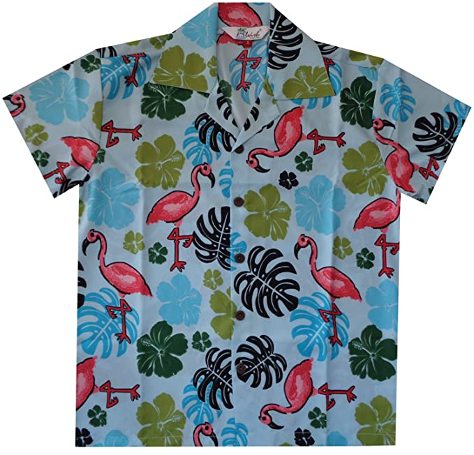 170a0b4b Amazon.com: Hawaiian Shirts Boys Flamingo Beach Aloha Party Camp Short  Sleeve Holiday Casual: Clothing