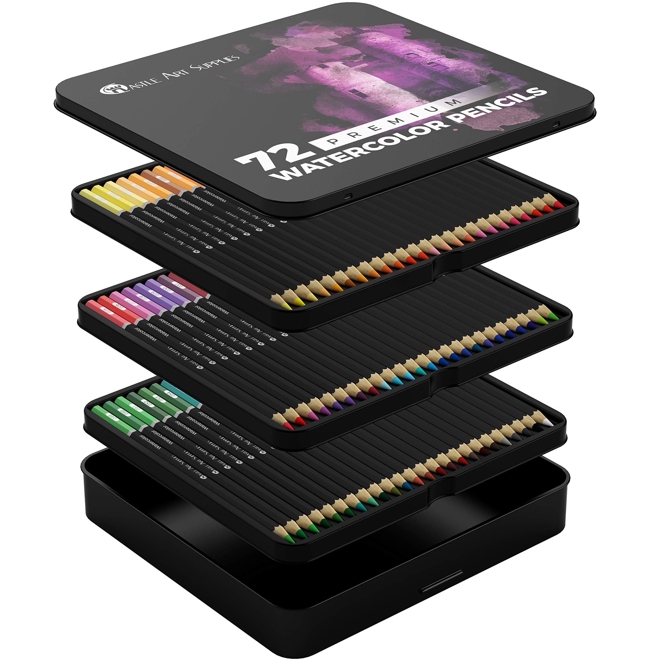 Castle Art Supplies 72 Watercolor Pencils Set for Adults and Professionals - Premium Artist Lead with Vibrant Colors and Beautiful Blending Effects with Water by Castle Art Supplies