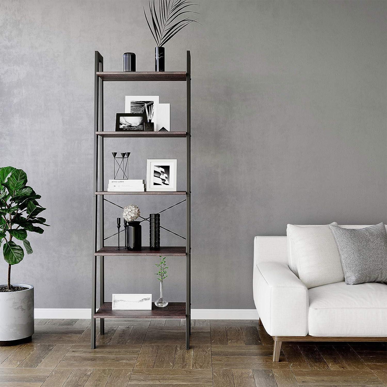 Rustic Dark Brown Black ULLS45BF for Living Room Kitchen Storage Unit 5-Tier Bookcase with Metal Frame VASAGLE Industrial Ladder Shelf
