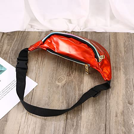 72244a9a6b7d TENDYCOCO Fashion Holographic PU Leather Shinning Fanny Pack Waist ...