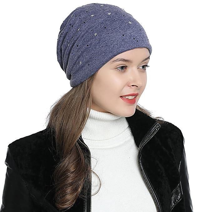 f3e51523c324fc DonDon Damen Mütze Wintermütze Slouch Beanie Sterne schwarzer Strass blau
