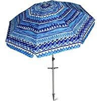 AMMSUN 7 ft Sand Anchor Beach Umbrella Adjustable Height with air vent Zinc Tilt Twist-in System UPF 50+ Silver Coating Inside and Telescoping Pole