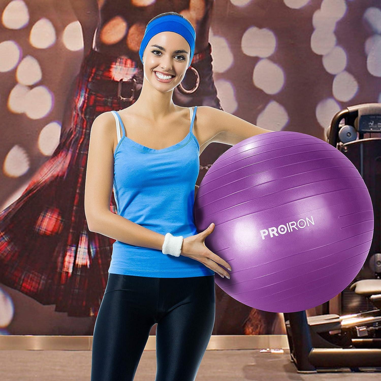 PROIRON Palla Fitness Palla Yoga Ball per Ginnastica Pilates Esercizi Gravidanza Fisioterapia Antiscivolo e Antiscoppio con Pompa 55 65 75 cm Ball per Fitness