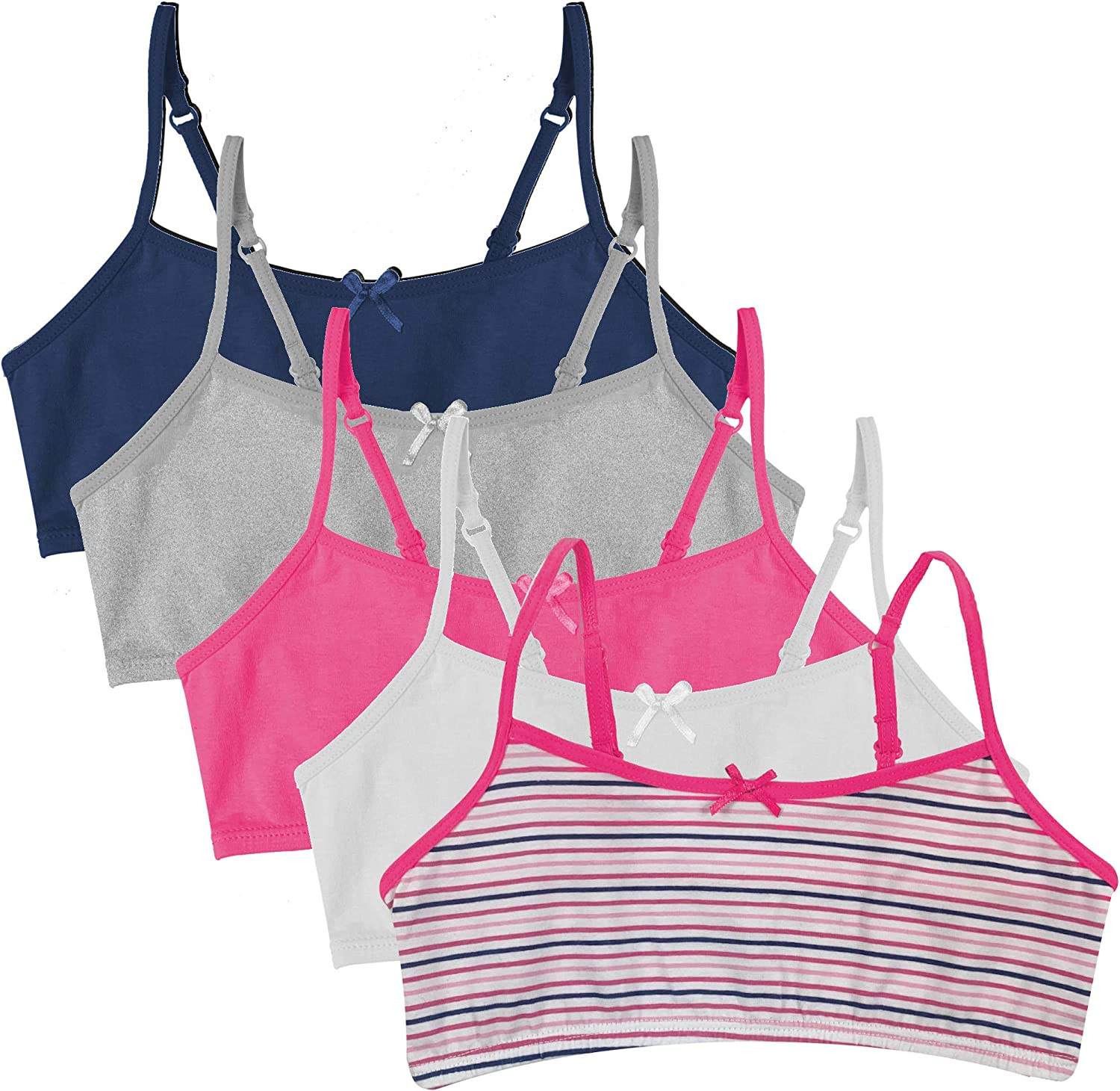 Girls Crop Top First Bra Cotton White Pink Gray 3 Pack Age 9-12 Years 34A-40A