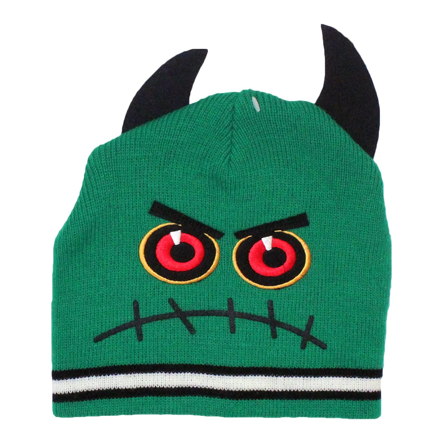 94bd4c325 Boys Green Monster with Horn Design Beanie Hat Age 3-6 Years: Amazon ...