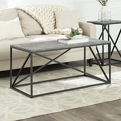 Walker Edison Modern Geometric Metal Rectangle Coffee Table Living Room Accent Ottoman Storage Shelf