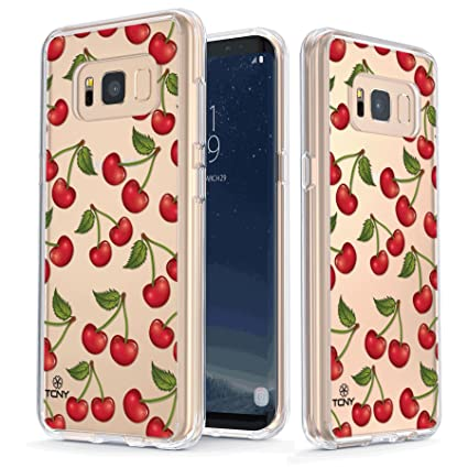 new product e1fc3 6d1dd True Color Case Compatible with iPhone 7/iPhone 8 Cherry Case, Clear-Shield  Cute Girly Cherries Printed on Transparent Back, Soft & Hard Slim ...