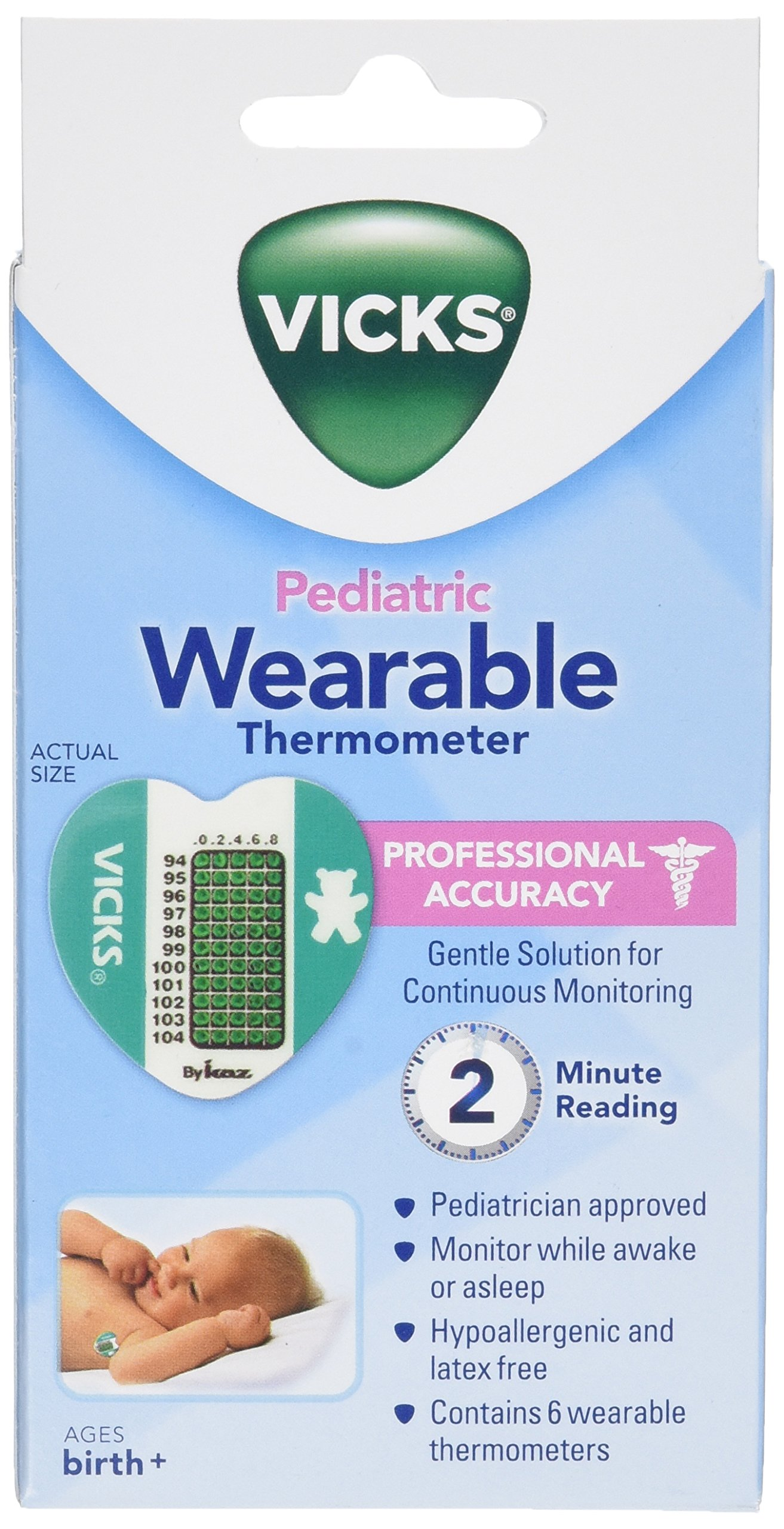 Vicks Wearable Thermometers, 6 thermometers by Vicks