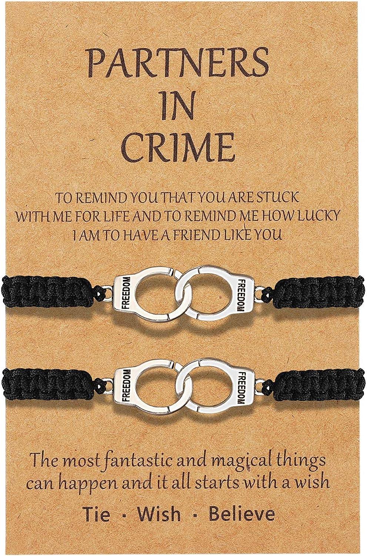 Sincere Partners in Crime Bracelets Handcuff Friendship BFF Matching Bracelets for 2 Girls Women Men Boys Best Friend Wish Bracelets
