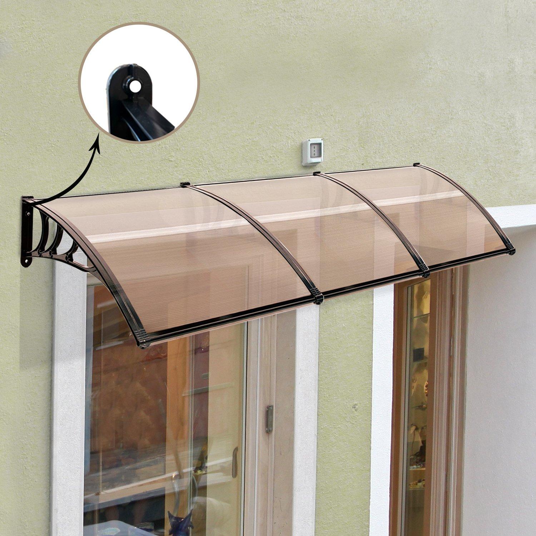 MCombo 39''×116''/39''x 78'' Window Overhead Door Awning Patio Outdoor Polycarbonate Cover Front Door Rain Sun Shetter Garden Canopy Hollow Sheet (40''x120'', Dark Brown Canopy/Black Bracket) by MCombo (Image #3)