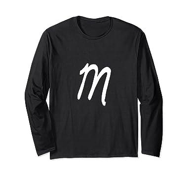 unisex letter m cursive graffiti font long sleeve tee small black