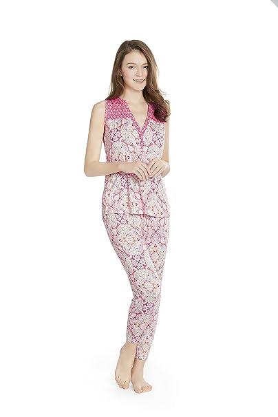 8e86119374464 Gypsy Maze Vintage Floral Printed Women PJ Pajamas Set