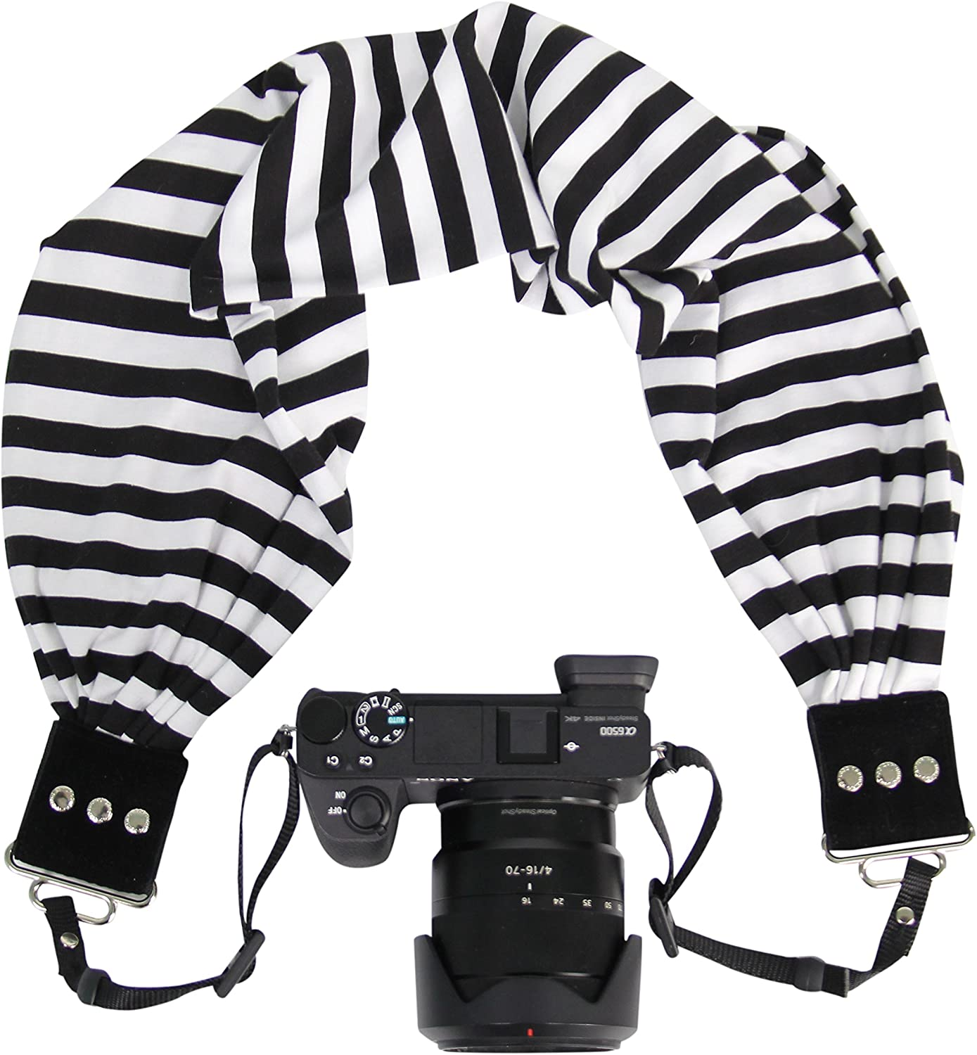 Zipper Pocket Holds Your Phone Keys Capturing Couture Scarf Camera Strap with Hidden Pocket Cash and Spare Memory Card Pocket Size: 6.5 Opening x 4 Deep Stretch Material Alia