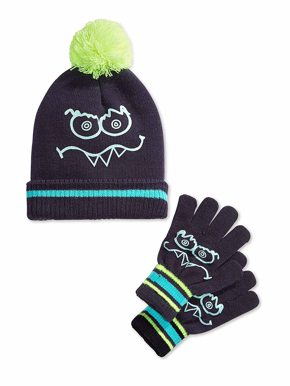 Osh Kosh Little Boys Glow In The Dark Funny Face Beanie /& Gloves Set Size 4-7