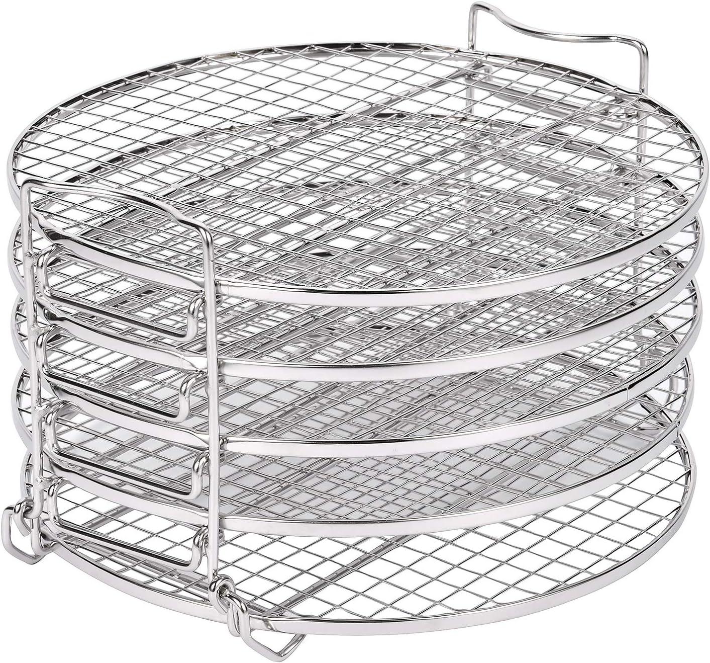 Yideng Supporto Disidratato Rack Disidratatore Impilabile con Rack Disidratatore in Acciaio Inossidabile 304 per Alimenti A Cinque Strati per Ninja Foodi 6.5 E 8 QT Argento