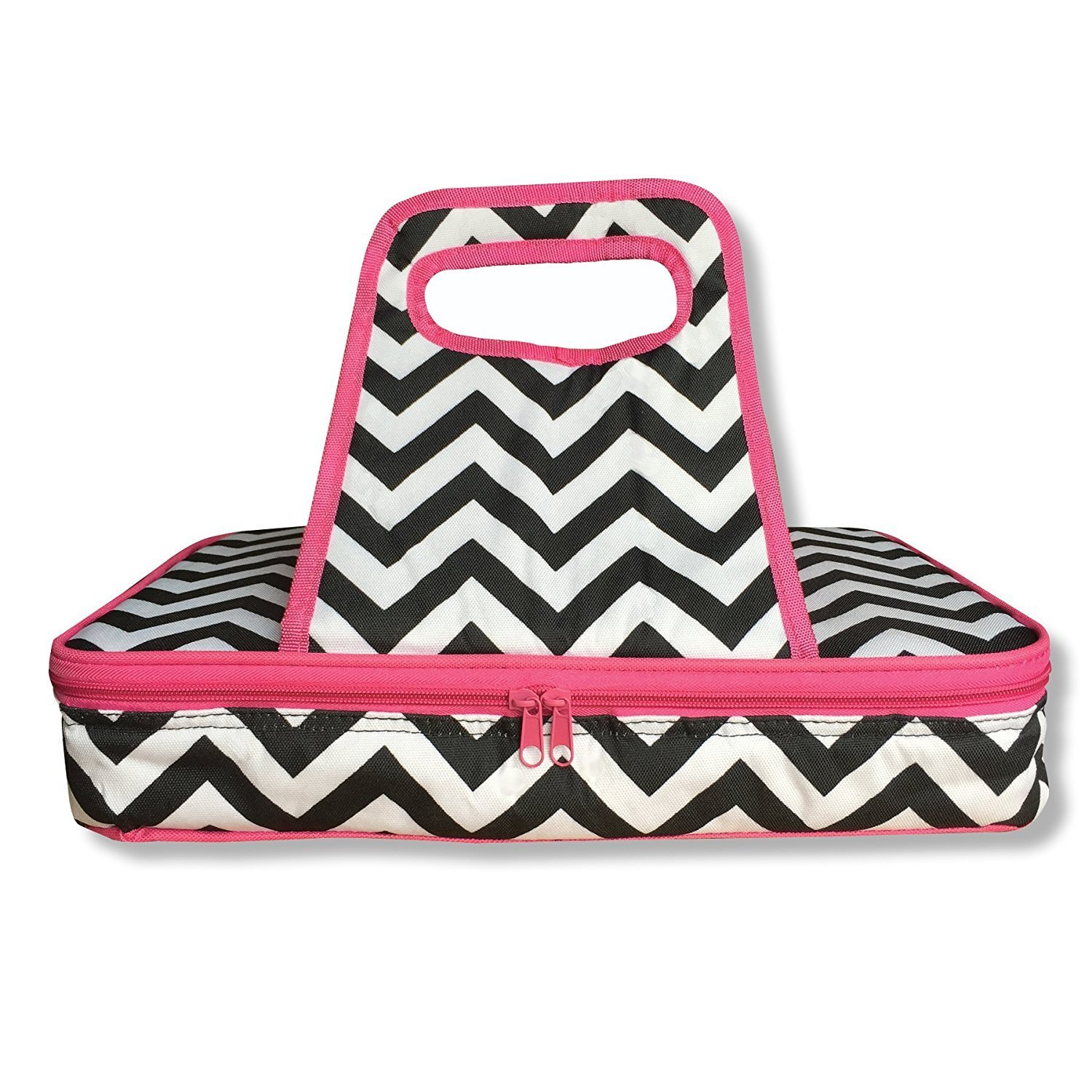 """Thermal Insulated 10""""x15"""" Pink Black and White Chevron Casserole Carrier - Hot or Cold - Double Zipper and Handles"""