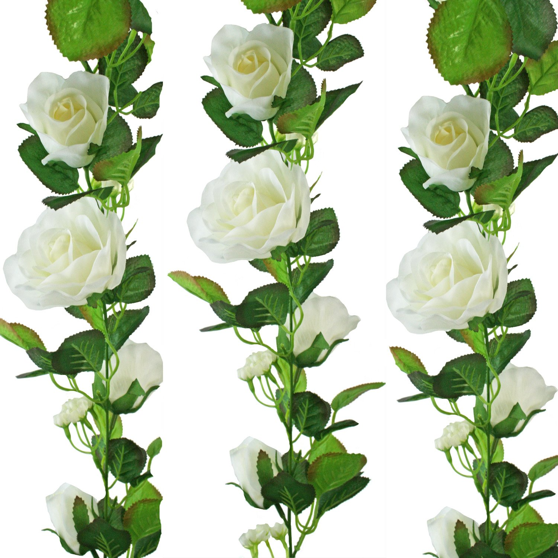 Amazon ivory silk rose garland wedding decoration home kitchen junglespirit Choice Image
