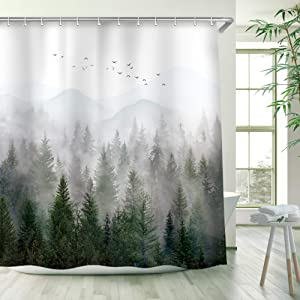 RosieLily Mountain Shower Curtain Misty Forest Tree Foggy Shower Curtain for Bathroom with Hooks Cool Nature Scenery Landscape Bathtub Decor 72 inch Design Art Shower Curtain Waterproof Fabric