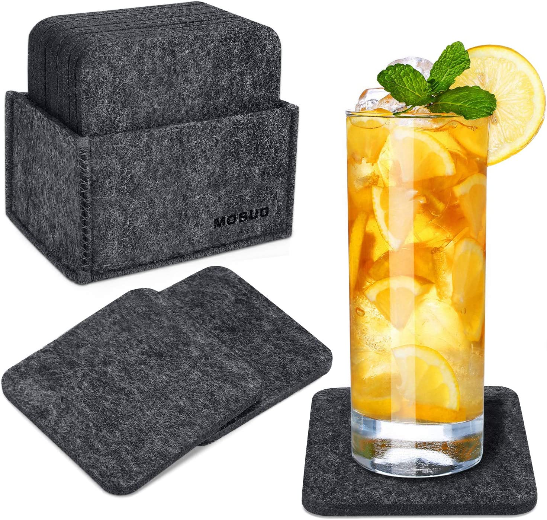 MOSUO Juego de 12 Posavasos, Posavasos Originales con Caja Bebidas 10x10 cm Absorben Antideslizante Posavasos de Fieltro para para Café, Vasos, Tazas