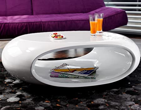 Salesfever Ufo Coffee Table High Gloss Oval Amazon De Kuche Haushalt