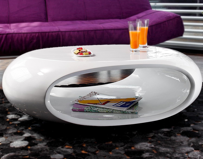 Couch-Tisch Hochglanz weiß oval 100x70 cm aus Fiberglas | Ofu ...