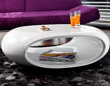SalesFever Couch Tisch Hochglanz Weiß Oval 100x70 Cm Aus Fiberglas | Ofu |  Moderner Wohnzimmer