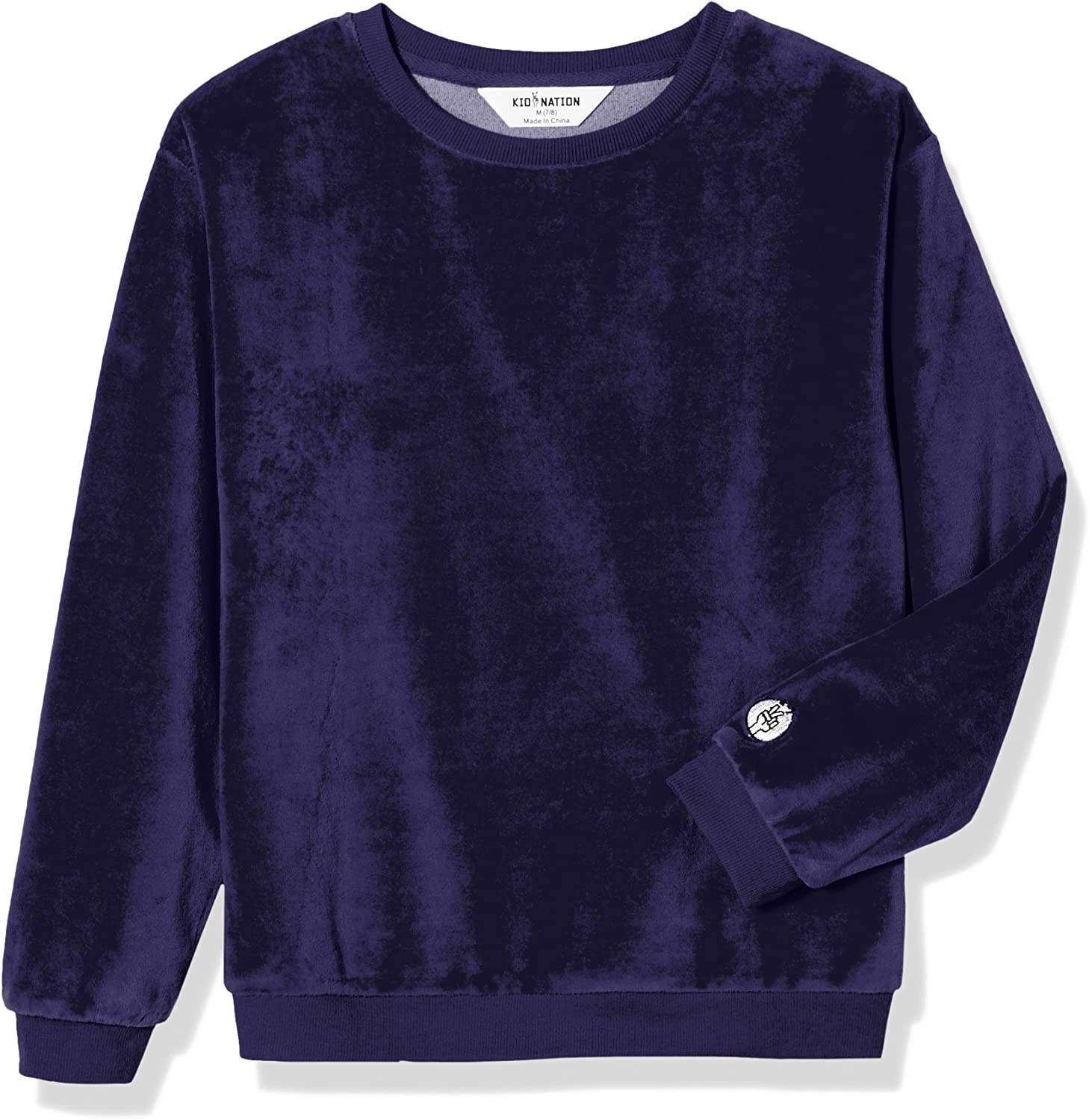 Kid Nation Kids Cozy Soft Velour Sweatshirt Light Weight Pullover for Boys and Girls
