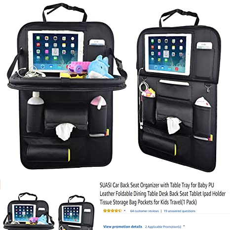 Amazon.com: SUASI Car Back Seat Organizer with Table Tray for Baby ...