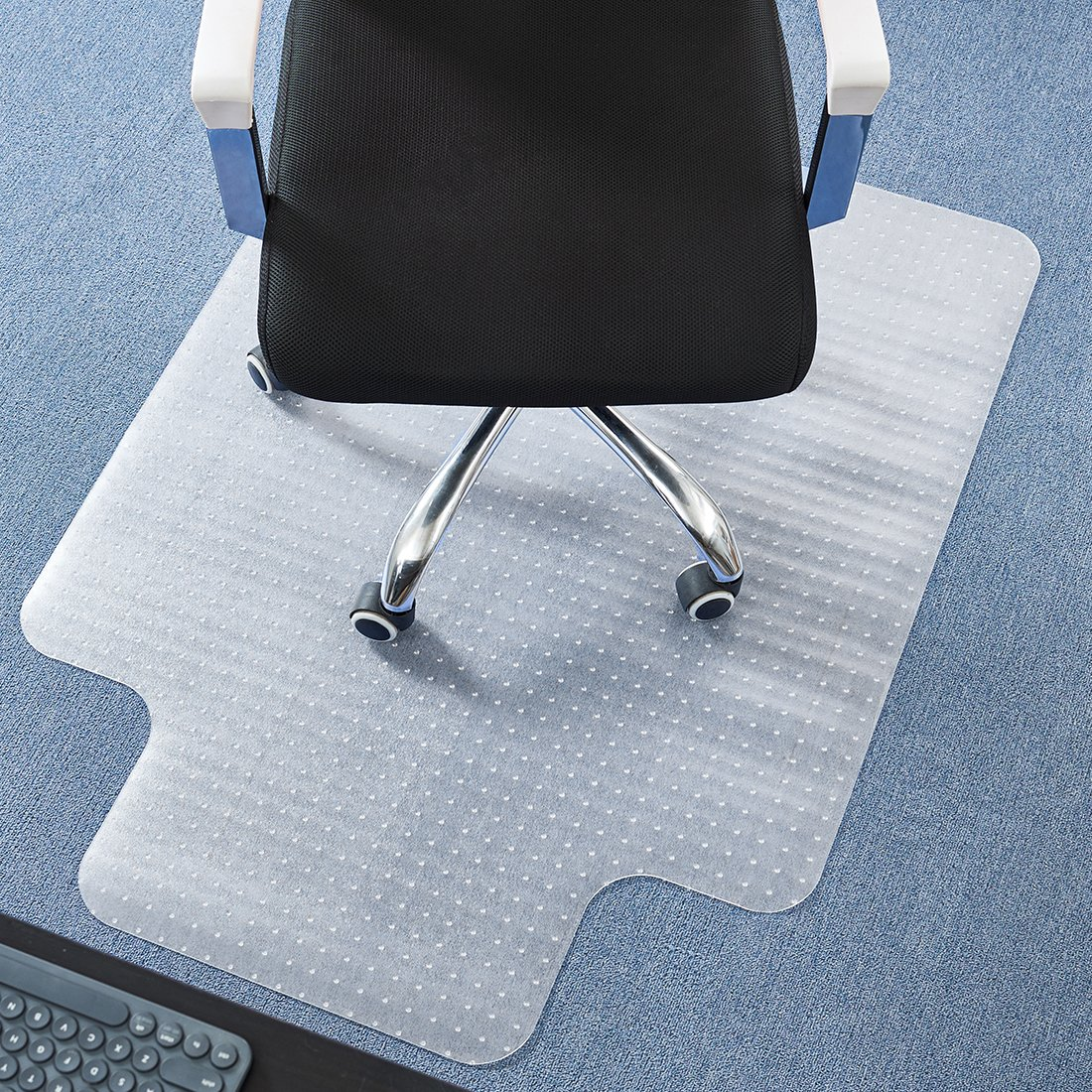 DAVID.ANN 36'' x 48'' Vinyl (PVC) Lipped Chair Mat for Very Low Pile Carpets (Transparent)