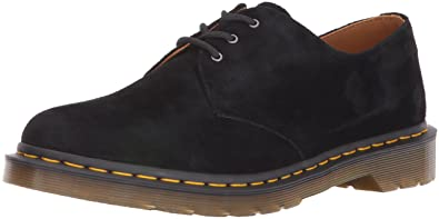 Dr.Martens Mens 1461 3 Eyelet Soft Buck Black Nubuck Shoes 10.5 US