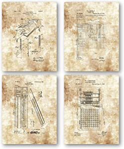 Original Accountant Drawings Artwork - Set of 4 8 x 10 Unframed Patent Prints - Great Gift for Bookeepers and Accounting Students - Vintage Accounting Office Decor - Bookkeeping Ledger