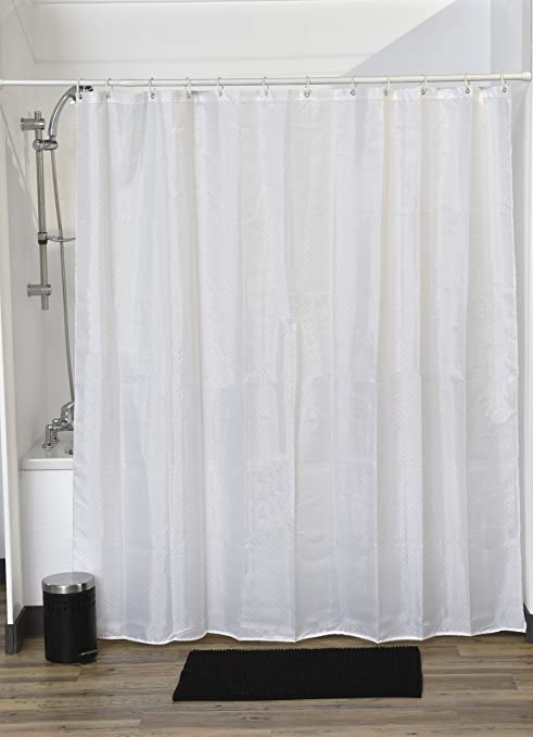 Evideco Design Fabric Shower Curtain Lux Polyester Rhinestone 71Wx79L Inch White