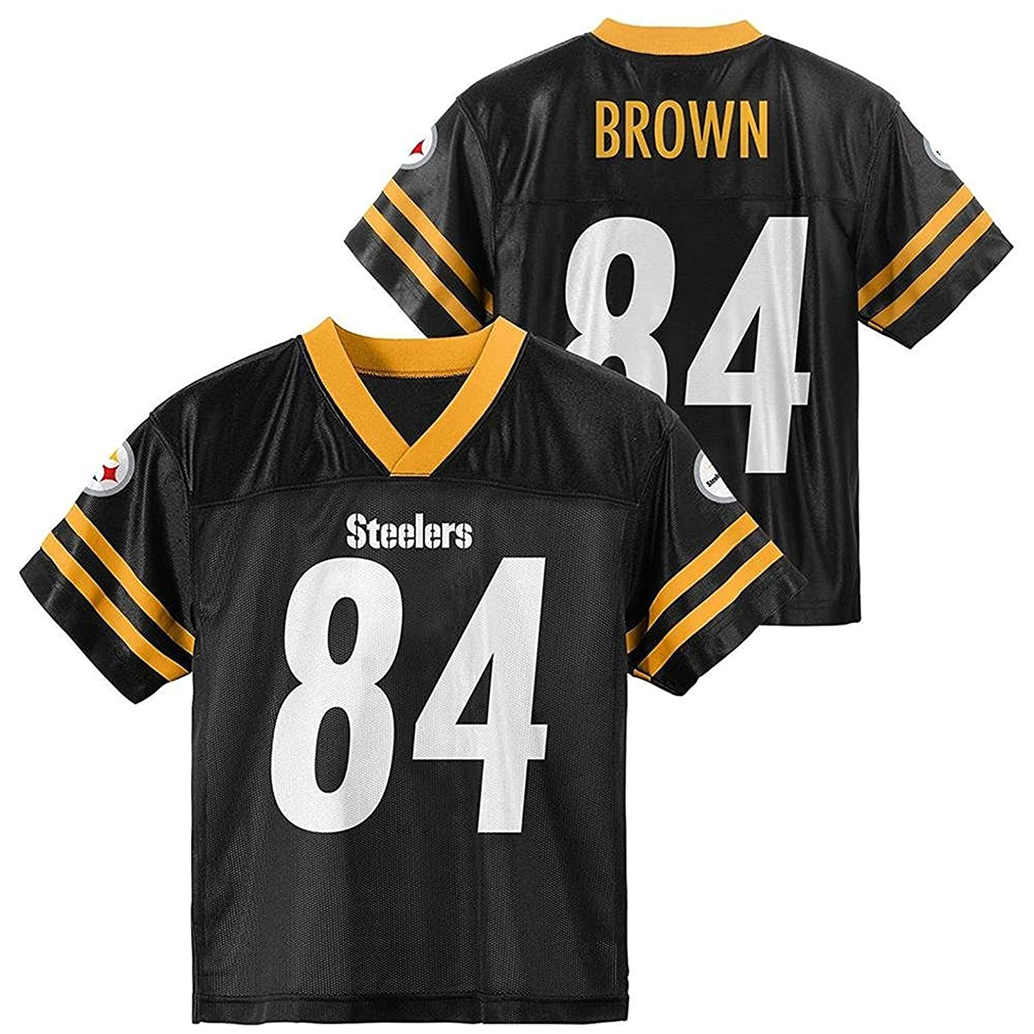 OuterStuff Antonio Brown Pittsburgh Steelers  84 Black Kids Player Home  Jersey 73291d739