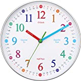 Wise Hedgehog Telling Time Teaching Clock, 10 inch Silent Non Ticking Analog Battery Operated Learning Clock for Kids…