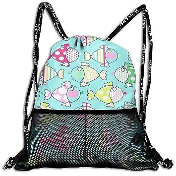 Drawstring Bags Gym Bags Drawstring Backpacks Bags Fish Pattern Sports Gym Sackpack Tote Travel Rucksack