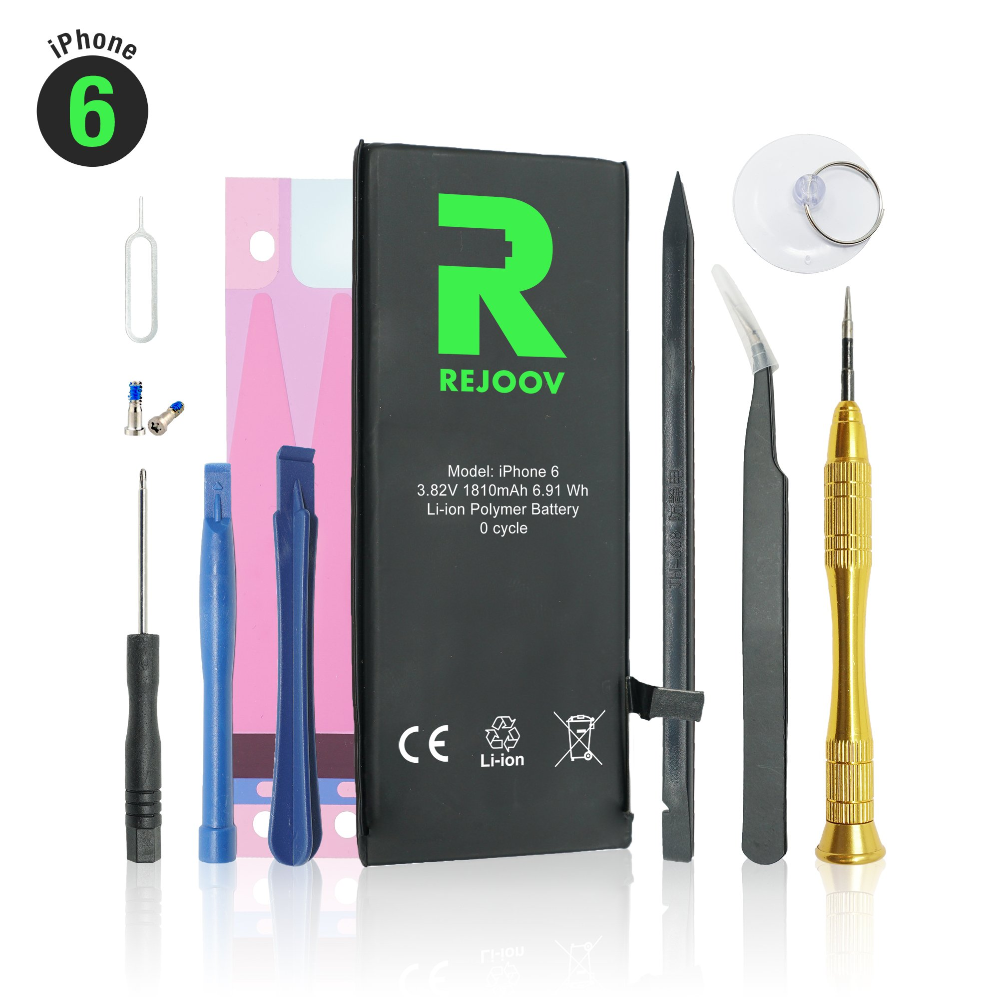 iPhone 6 Battery Replacement Kit with Complete Tools, Adhesive, and Instructions 1810mAh 0 Cycle - 1 Year Warranty