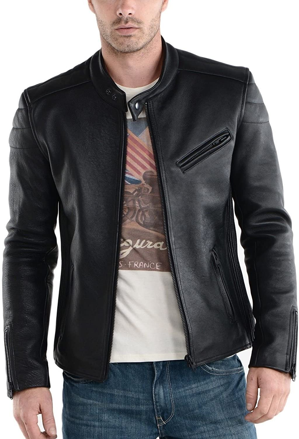 S Mariyam Leather Mens Leather Jacket Black Slim Fit Biker Motorcycle Genuine Lambskin Coat