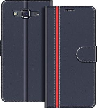 COODIO Funda Samsung Galaxy J5 2015 con Tapa, Funda Movil Samsung J5 2015, Funda Libro Galaxy J5 2015 Carcasa Magnético Funda para Samsung Galaxy J5 2015, Azul Oscuro/Rojo: Amazon.es: Electrónica