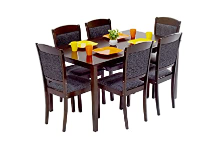 deckup cameron 6 seater dining table set rubber wood wenge