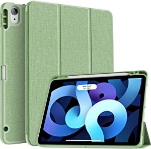 Soke iPad Air 4 Case 10.9 Inch 2020 with Pencil Holder - [Full Body Protection + Apple Pencil Charging+ Auto Sleep/Wake], Soft TPU Back Cover for 2020 New iPad Air 4th Generation,Light Green