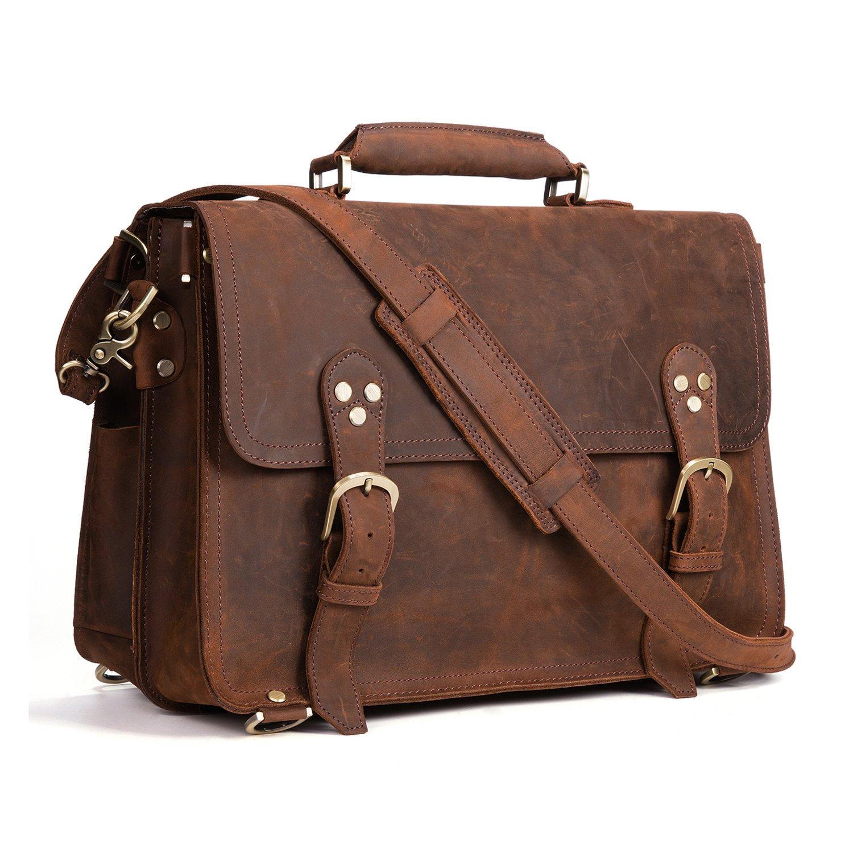 Kattee XZ170-FBA 3-Way Men's Crazy Horse Leather Vintage Briefcase Travel Backpack 15'' Laptop Shoulder Bag Handbag
