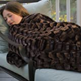 Superior Soft Faux Fur Sherpa Throw Blanket, Luxury Rectangular Pattern, 65x50-inches