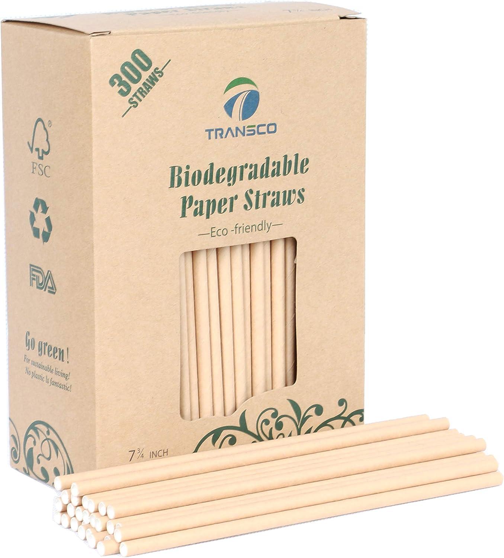 Transco 300 pajitas de papel biodegradables sin tinte, papel kraft ...
