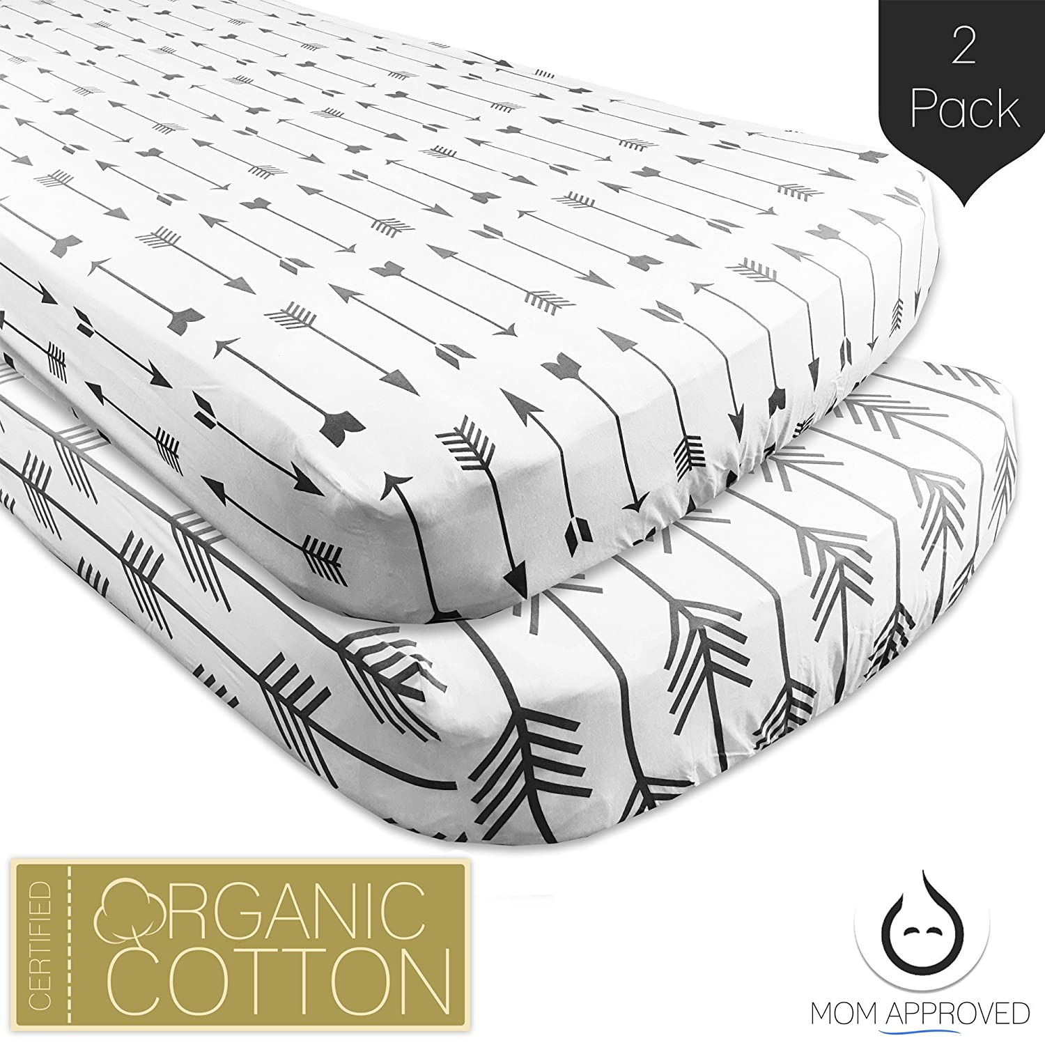 Kaydee Baby Certified Organic Flannel Cotton Fitted Crib Sheets - Set of 2 - Variety of Options Available (Grey Arrows)