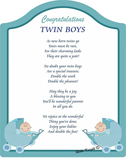 amazon congratulations on yourツインboys touching 5 x 7 poem with