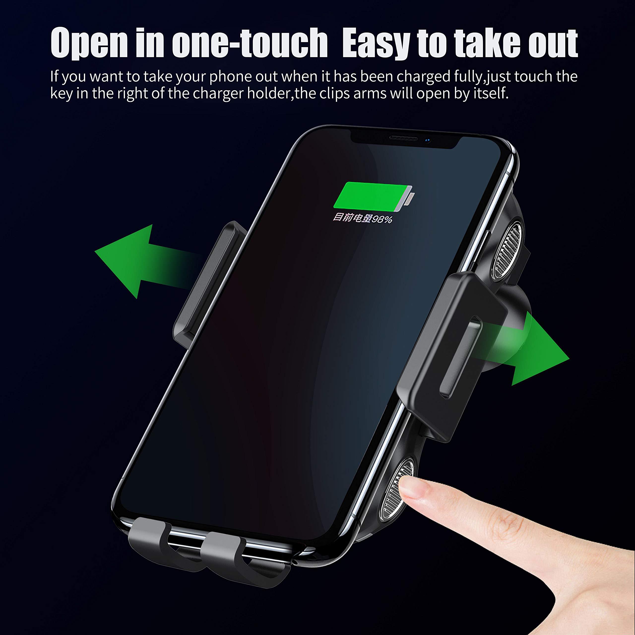 AILRINNI Chargeur sans Fil Rapide Voiture, Support Téléphone avec Position d\'Induction Réglable, 10W Qi Chargeur Auto Support pour iPhone XS/XS Max/XR/X/8P/8, Samsung Galaxy S10/Note 9/S9 etc