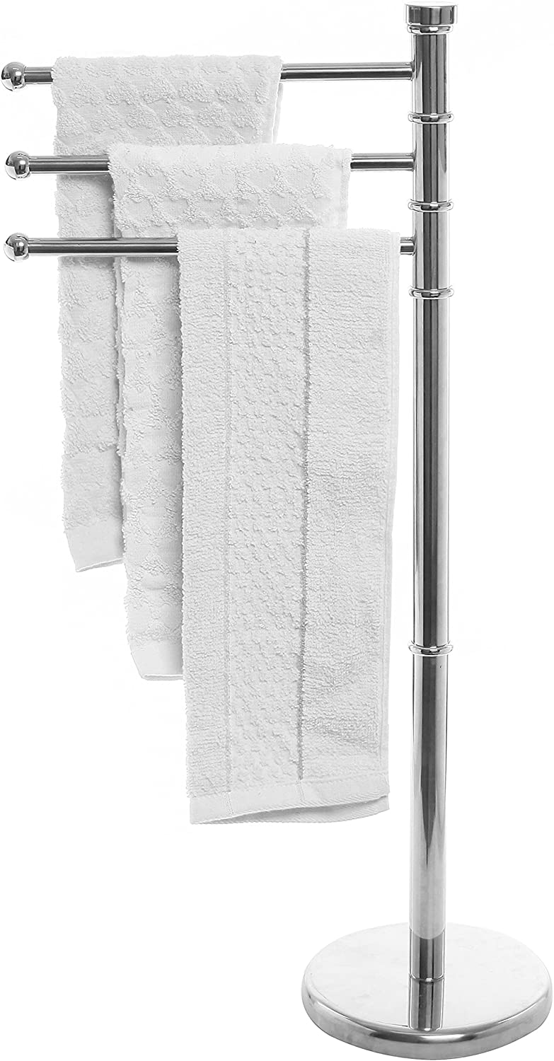 MyGift Modern Stainless Steel 3 Swivel Arm Towel Holder Rack with Round Base, Freestanding Hand Towel Bar Stand