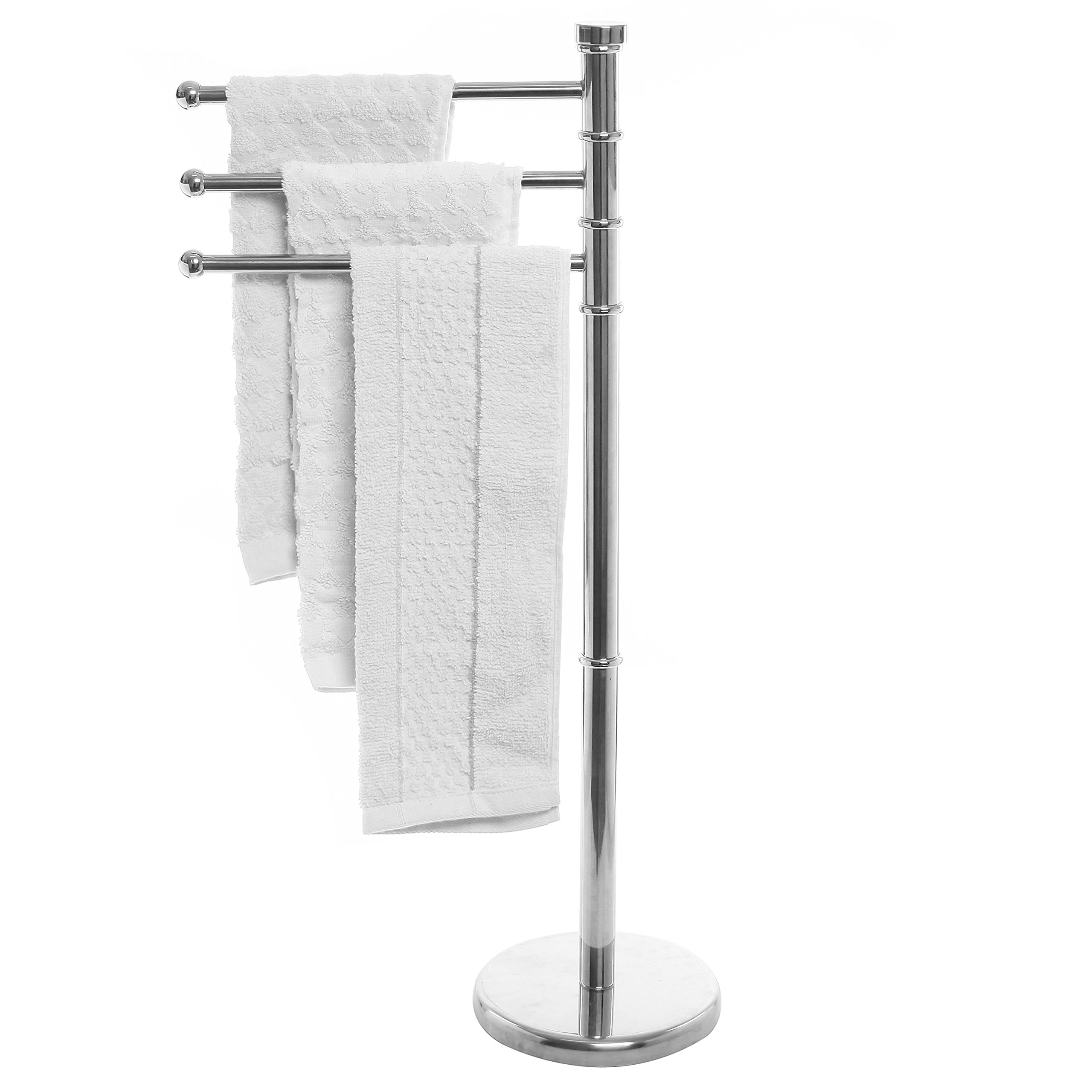 MyGift Modern Stainless Steel 3 Swivel Arm Towel Holder Rack with Round Base, Freestanding Hand Towel Bar Stand by MyGift