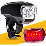 LED BIKE LIGHT SET. Bicycle headlight & taillight combo. Ultrabright 5 LED kit.. Use on bike or scooter. FREE high visibility reflectors. ~ In BG Lights gift box as pictured