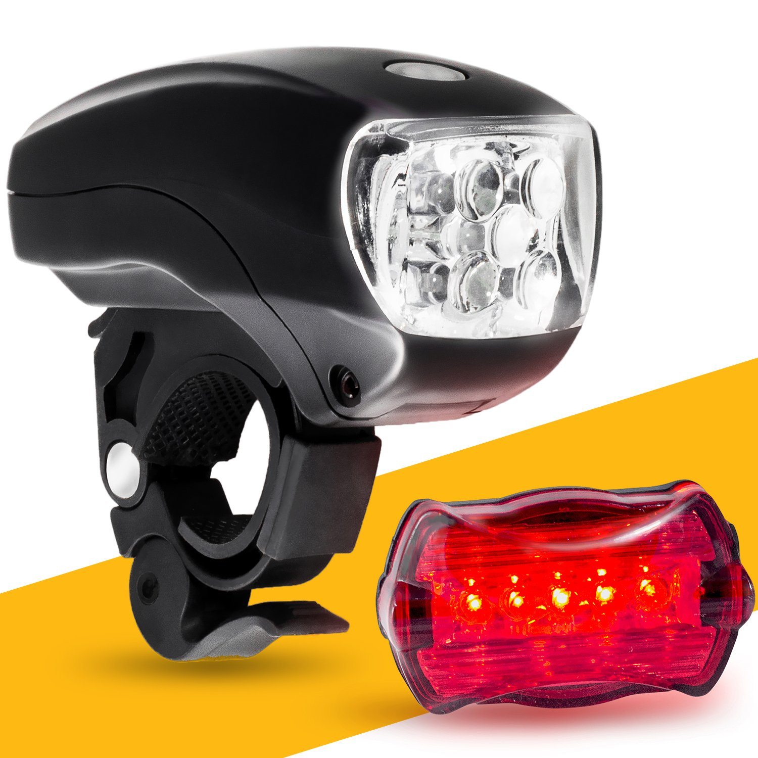 LED BIKE LIGHT SET. Bicycle headlight & taillight combo. Ultrabright 5 LED kit.. Use on bike or scooter. FREE high visibility reflectors. ~ In BG Lights gift box as pictured by BoG Products (Image #1)